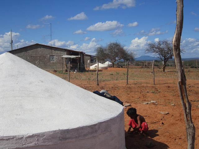 A rural settlement in the northeast Brazilian state of Pernambuco, where water tanks have been installed to collect and store rainwater and make it fit for drinking. Initiatives like this one have modified the local population's relationship with the recurrent drought in the semi-arid region. Credit: Mario Osava/IPS