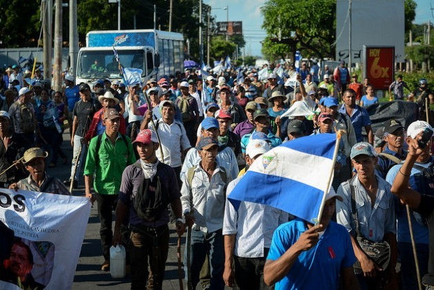 Hundreds of small farmers came to Managua from the Caribbean coastal region in southern Nicaragua on Oct. 27 to take part in the 55th protest against the construction of the interoceanic canal, which is set to displace thousands of rural families. Credit: Carlos Herrera/IPS