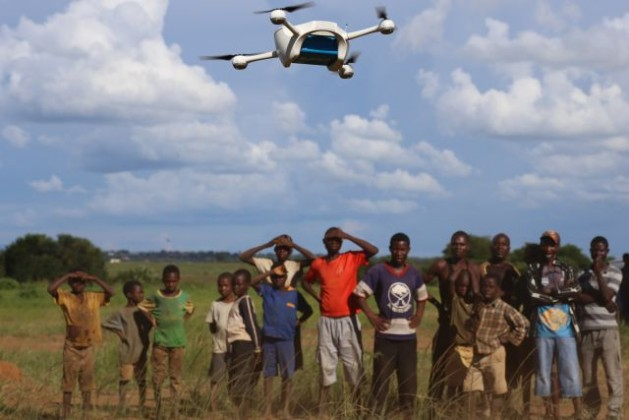 The drone took 10 minutes to cover 10 km. Photo Credit: UNICEF