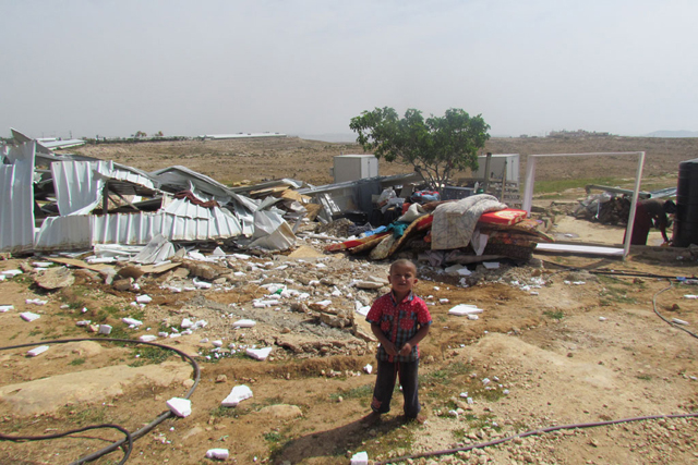 A boy in the Bedouin refugee community of Um al Khayr in the South Hebron Hills where large scale home demolitions by Israeli authorities took place. Credit: UNRWA