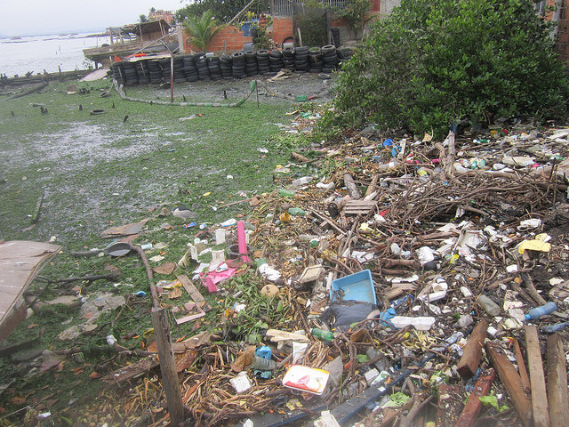 Once this was a white sandy beach close to the fishing village of Tubiacanga, in Guanabara bay, near Rio de Janeiro international airport. The city's population contributes to pollution and silting in this emblematic Brazilian bay. Credit: Mario Osava/IPS