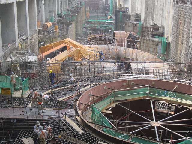 The Belo Monte hydroelectric plant's turbine room in the northern Brazilian state of Pará, under construction in 2015. The mega-project is to be finished in 2019. Credit: Mario Osava/IPS