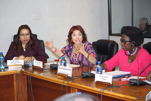 From left to right: FAO Rome Special Co-ordinator for parliamentary alliances, Caroline Rodrigues Birkett, Maria Augusta Calle, and PAP Vice-President Dr Bernadette Lahai. Credit: Desmond Latham/IPS