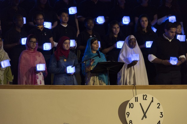 Malala Yousafzai (centre) addresses the General Assembly during the launch of the UN's Sustainable Development Goals in September 2015.