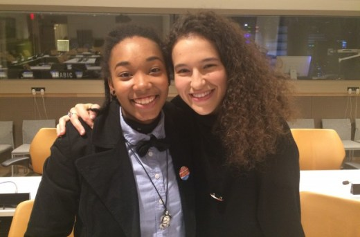 Johnna Artis, 20, first apprentice and Maria Fraguas Jover, 24, rehearsal director at the Hip-Hop Dance Conservatory pictured at the United Nations. Credit: IPS UN Bureau / IPS.