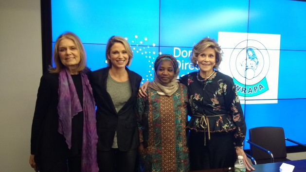Bring Back Our Girls campaign co-founder Saudatu Mahdi with Gloria Steinem and Jane Fonda. Credit: Donor Direct Action.