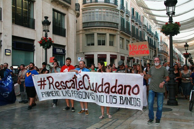 """""""You do not represent us"""" says one demonstrator's sign in a street protest in Málaga in southern Spain. Credit: Inés Benítez/IPS"""