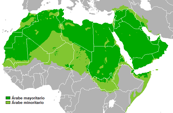 Arab countries in the Middle East and North of Africa. Dark Green: Arab majority population. Light Green: Arab minority countries | Credit: Public Domain.