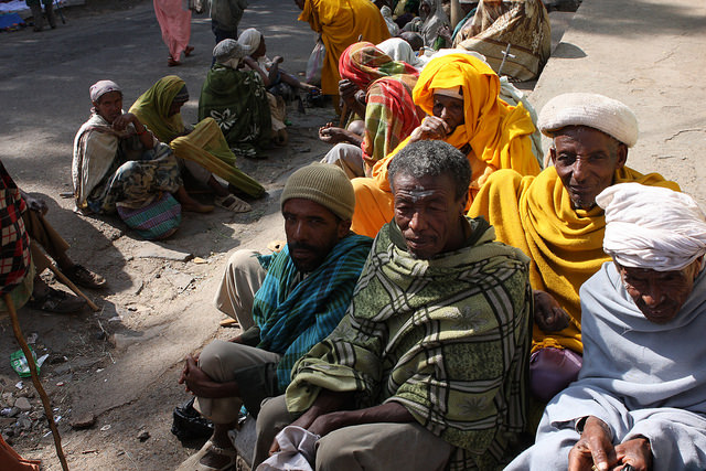 Outside Gonder churches, beggars line streets hoping for alms. Credit: James Jeffrey/IPS