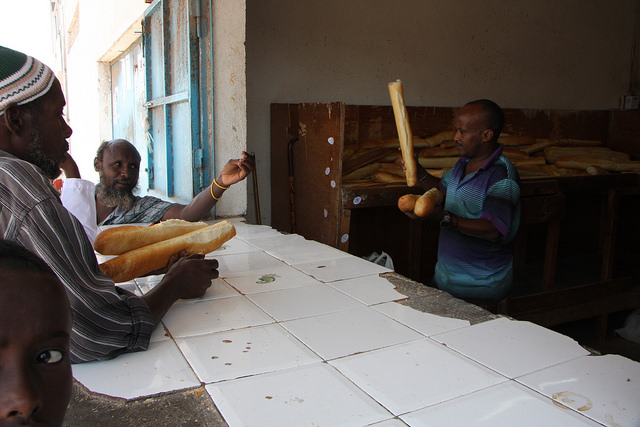 Locals in Tadjoura, a small town across the Gulf of Tadjoura from Djibouti city, buying their daily baguettes, a legacy of French colonial rule. Credit: James Jeffrey/IPS