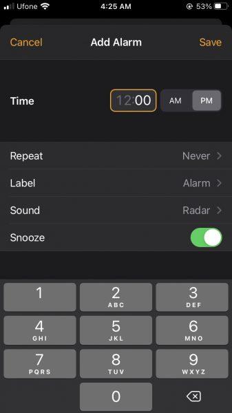 как изменить будильник iphone
