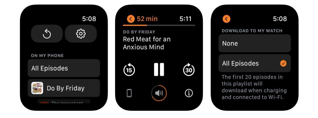 Приложение Apple Watch Overcast