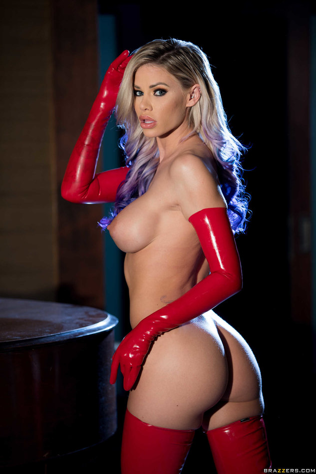 Brazzers Network Blonde Jessa Rhodes wearing sexy red latex outfit rides a big cock