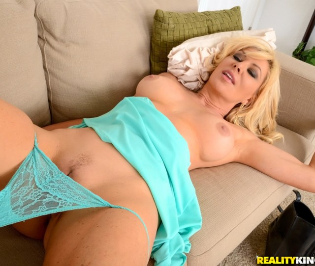 Milf Sasha Sean In A Blue Dress Gets A Pussy Hammering On Sofa