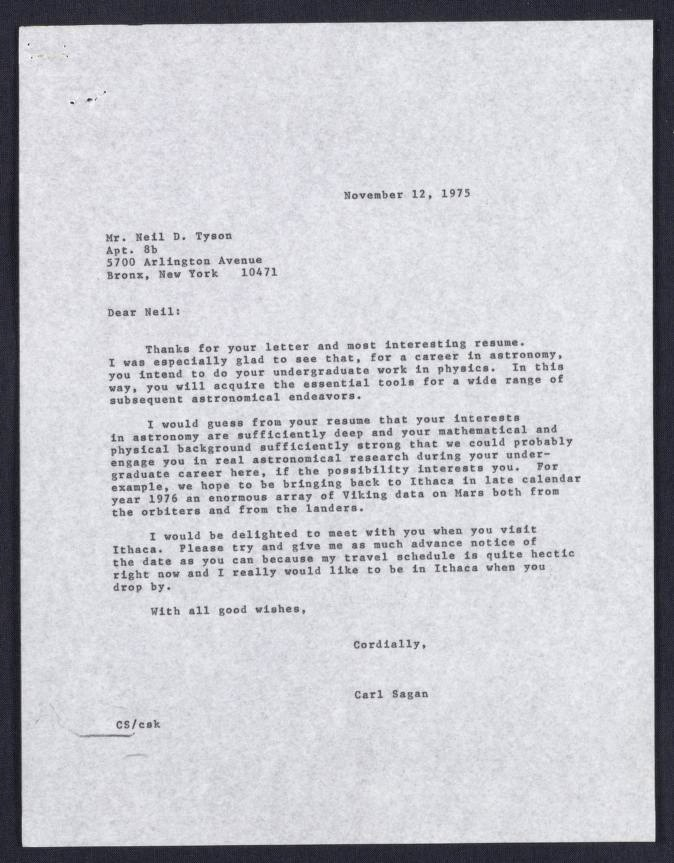 1975 letter from Carl Sagan to high school student Neil