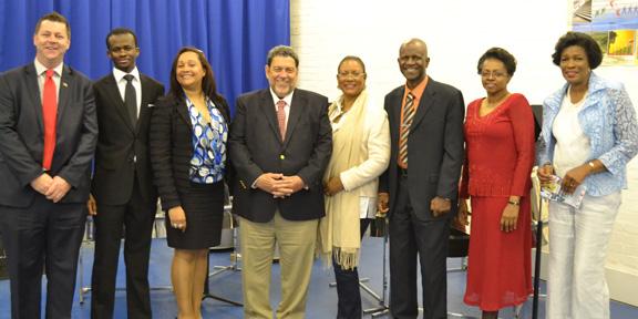 From Left: Dr Christopher Stange, Hon. Consul; Chevanev Charles; Jacqueline Roberts; Prime Minister Dr Ralph Gonsalves; Eloise Gonsalves; Hon. Maxwell Charles – Minister; Doris Charles – Minister Counsellor; Susan Dougan, Cabinet Secretary.