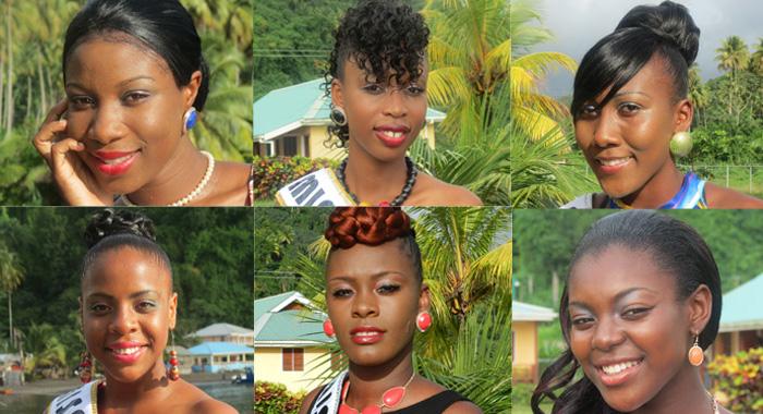 Clockwise From Top Left: Miss Golden Groove, Shakelia Anthony; Miss Troumaca, Fayasha Lewis; Miss Rose Bank, Kaywana Laborde; Miss Chateaubelair, Kayana Stephens; Miss Fitz Hughes, Deshia Murray; Miss Petit Bordel, Ocean Edwards.