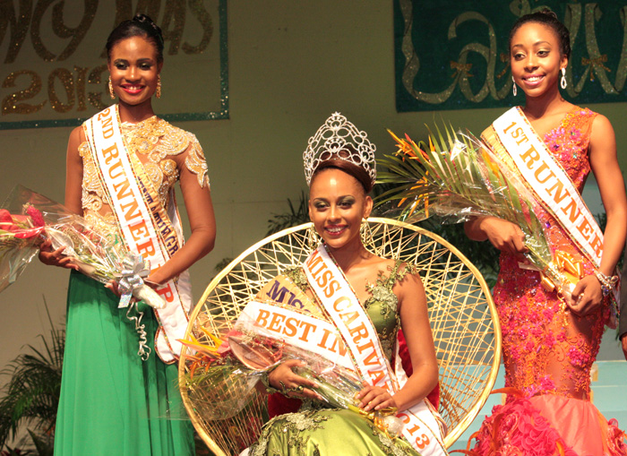 Miss Carival 2013: Miss Dominica, Leslassa Armour-Shillingford, 1St Runner-Up, Miss St. Kitts And Nevis, Zinga Imo, Right, And 2Nd Runner-Up, Miss St. Vincent And The Grenadines, Shara George. (Iwn Photo)