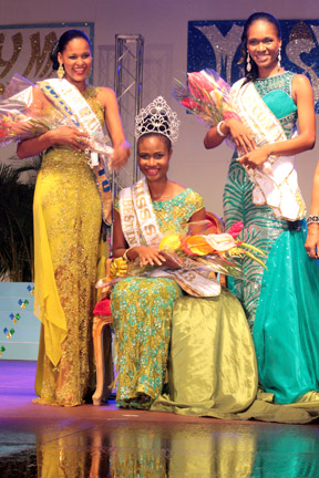 Miss Svg 2013 -- Shara George -- Miss Mustique Co. Ltd., Flanked By First Runner-Up -- Anna Laborde -- Miss Metrocint General Insurance Company Ltd. (Right) And Second Runner-Up -- Hannah Hamilton - Miss Lotto.