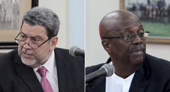 Prime Minister Ralph Gonsalves, Left, And Opposition Leader Arnhim Eustace. (Iwn File Montage)
