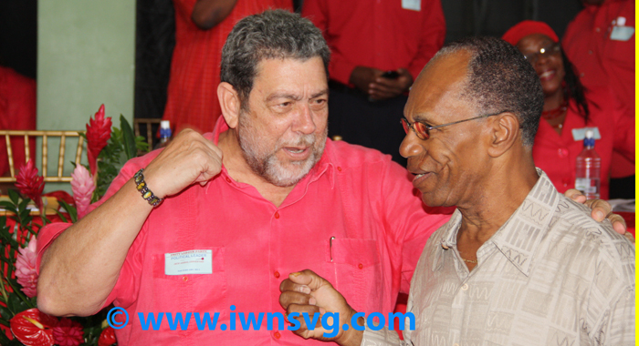 Frank Da Silva, Right, Seen Here With Prime Minister Dr. Ralph Gonsalves, At The Ulp's Convention On Feb. 2, 2014, Once Secretly Recorded A Conversation With Gonsalves And Played It On Radio. (Photo: Zavique Morris/Iwn)