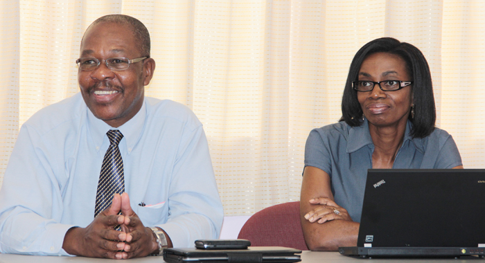 Ceo Of Vinlec, Thornley Myers, Left, And Manager Of Finance, Juliette Hinds-Wilson. (Iwn Photo)