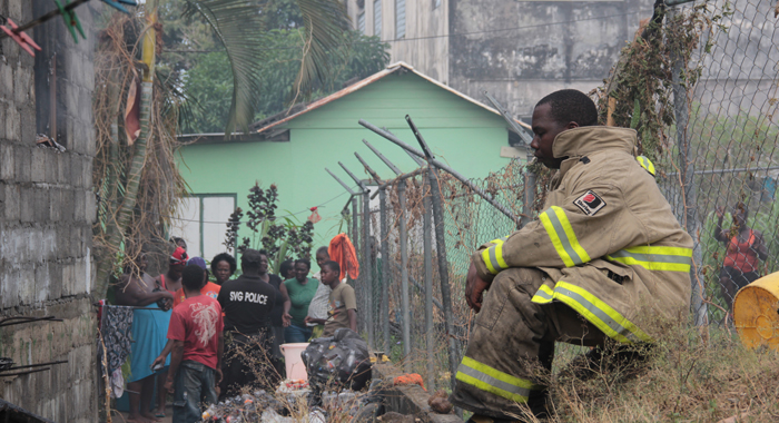 A Fire Fighter Rests After The Blaze Was Brought Under Control. (Iwn Photo)