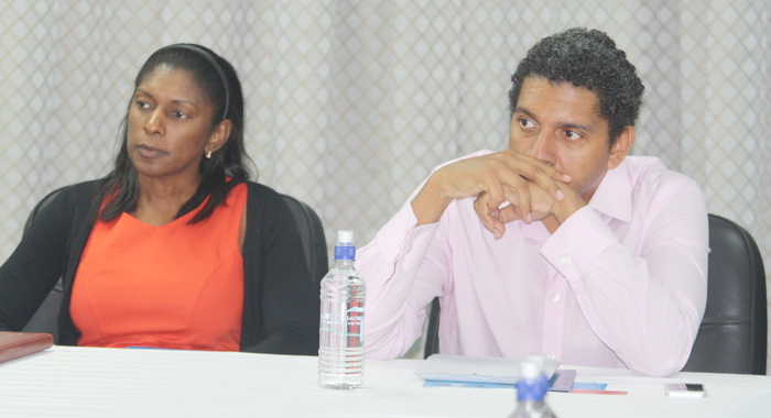 Executive Director Of Invest Svg Bernadette Ambrose-Black, Left, And Minister Of Telecommunications, Sen. Camillo Gonsalves.