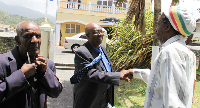 Eustace Greets Mourners On Arrival At The Funeral. (Iwn Photo)