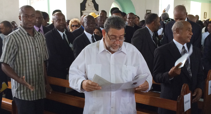 Pm Gonsalves Reviews The Funeral Programme. (Iwn Photo)
