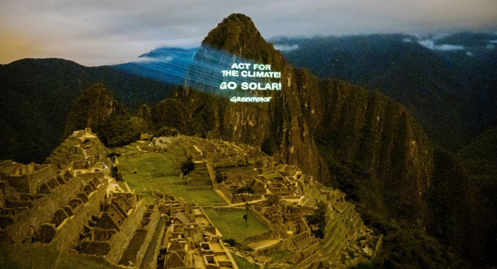 Greenpeace Activists Took Pro-Solar Message To The Temple Of The Sun In Machu Picchu As Climate Summit In Lima Began. (Photo: Greenpeace)