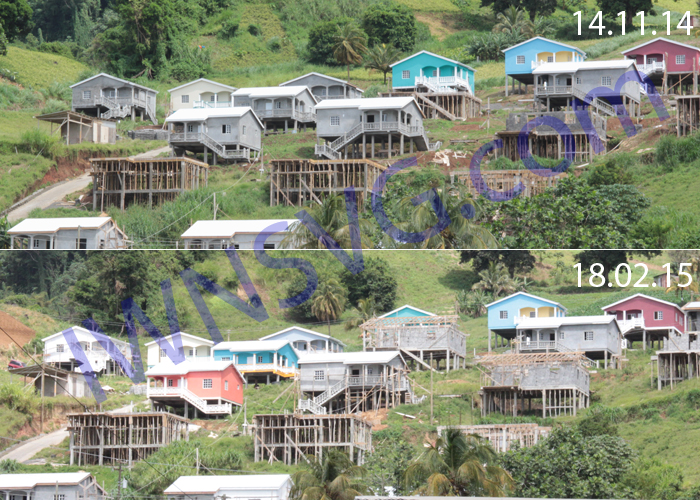 The Houses At Green Hill Seen In November 2014, Top, And February 2015, Bottom. (Iwn Photos)