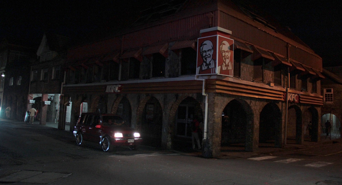 The Kfc Outlet In Downtown Kingstown, Like The Two Others, Were Closed And In Darkness Around 7 P.m. Monday. (Iwn Photo)