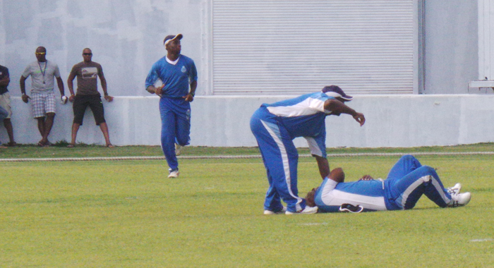 Danso Andrews Suffered An Injury During The Match. (Photo: E. Glenford Prescott)