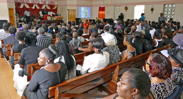 Mourners At The Funeral On Sunday. (Photo: Jamali Jack)