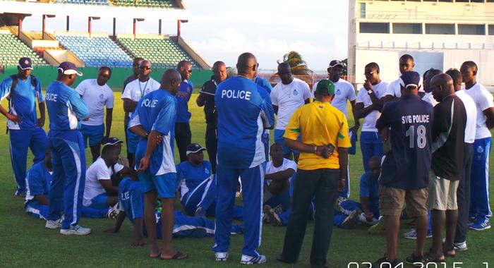 Winners, Svg Police Team, In Post-Match Meeting. (Photo: E. Glenford Prescott)