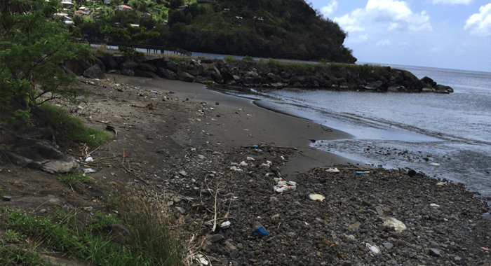 The Nasty, Sand-Mined Beach At Layou, Adjoining The Loading Jetty For The Town'S Destructive Stone Quarry.