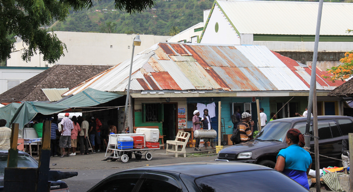 Old Galvanise Sheets Form A Makeshift Roof Of A Shop In Little Tokyo, Kingstown. (Iwn File Photo)