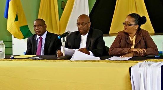 From Left. Prof. Wellington Ramos, Opposition Leader Arnhim Eustace, And Ndp Spokesperson Sen. Vynnette Frederick. (Photo: Ndp/Facebook)