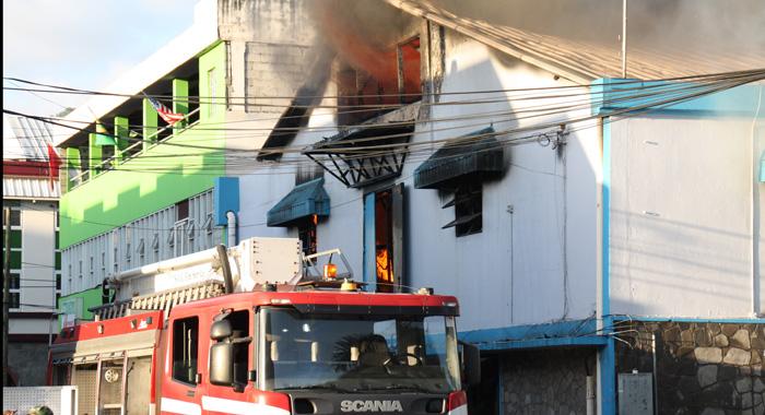 Firefighters Respond To The Blaze In Kingstown On Sunday. (Photo: Karamo John/Iwn)