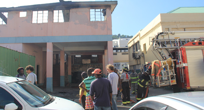 Fire Fighters Were Still Pouring Water Onto The Buildings On Monday Morning. (Iwn Photo)