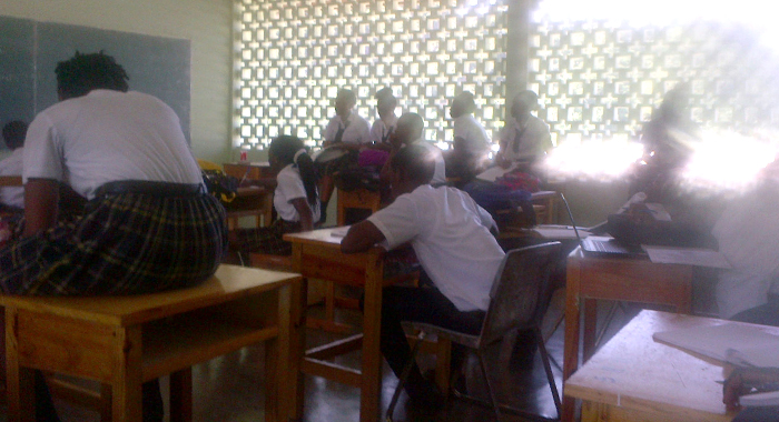 Students Try To Make Themselves As Comfortable As Possible Without Chairs At Petit Bordel Secondary School.