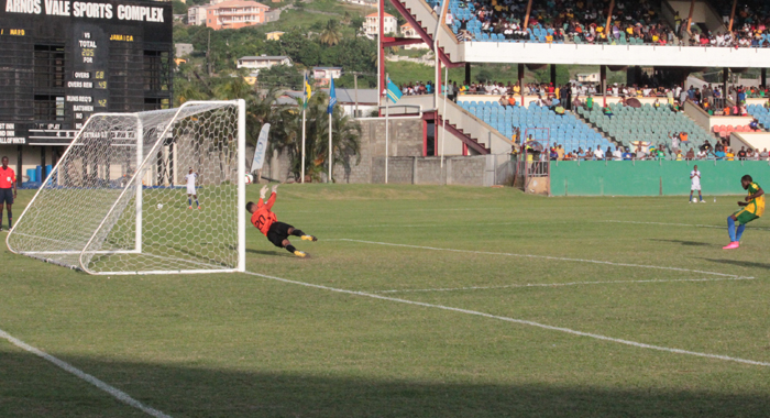 Olaex Anderson Duly Put Away A Spot Kick To Seal The Game For Vincy Heat. (Iwn Photo)