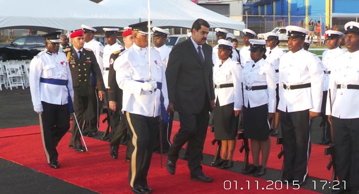 President Maduro Inspects A Guard Of Honour At E.t. Joshua Airport. (Photo: E. Glenford Prescott/Iwn)