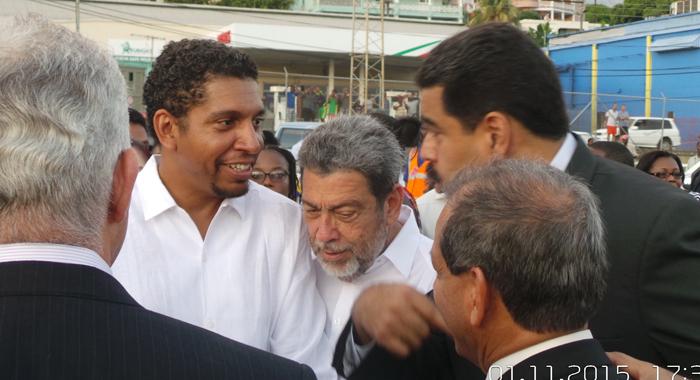 Minister Of Foreign Affairs, Sen. Camillo Gonsalves, Left, Prime Minister Ralph Gonsalves, Centre, And  President Maduro At E.t. Joshua Airport. (Photo: E. Glenford Prescott/Iwn)