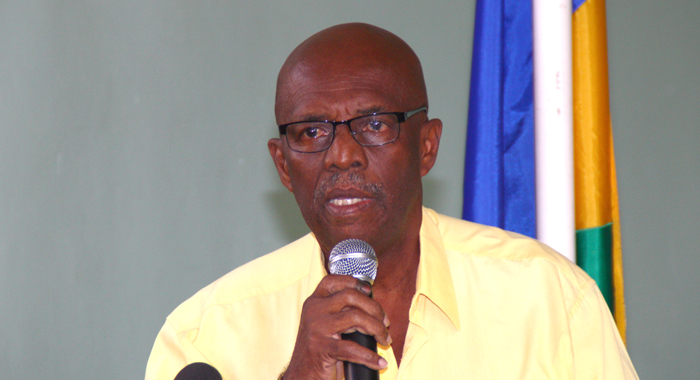 President Of The Ndp, Arnhim Eustace Addresses Party Supporters And The Media On Saturday. (Iwn Photo)
