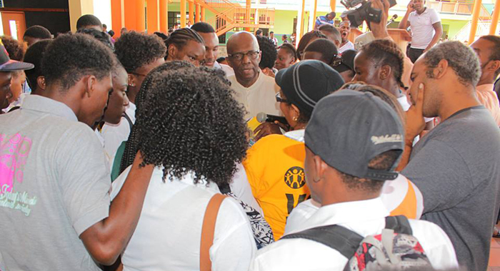 Opposition Leader Arnhim Eustace Interacts With Community College Students After A Question And Answer Session Organised By The College Last Week. (Photo: Ndp/Facebook)