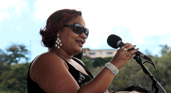 Camille A.r. Johnson Delivers A Tribute At The Funeral Of Her Father, Rev. Patrick Mcintosh, On Friday. (Iwn Photo)