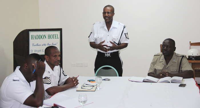 From Left: Police Officers Constable Bobb, Station Sergeant Junior Nero, Sergeant Henry Providence, And Superintendent Kenneth John At Tuesday'S Meeting. (Iwn Photo)