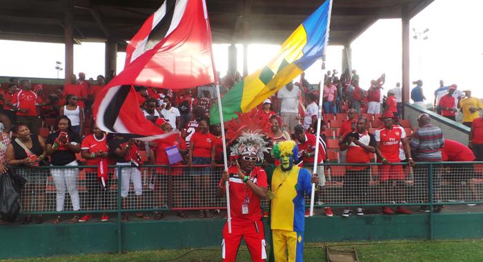 Trinidad Flag-Bearer, Joey &Quot;Posh&Quot; Richardson, Left, And His Vincentian Counterpart, &Quot;Sappy&Quot; Evans. (Photo: E. Glenford Prescott)